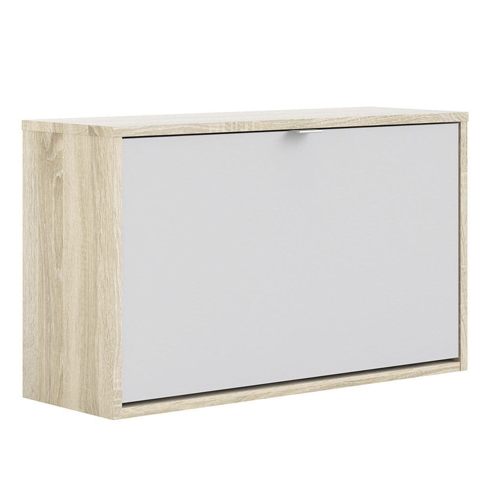 Footwear Shoe cabinet  w. 1 tilting door and 2 layers in Oak structure White